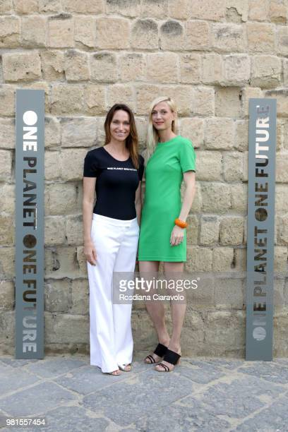 Anne de Carbuccia and Nadine Schutz attend One Planet One Future Cocktail Party on June 22 2018 in Naples Italy