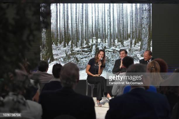 Anne de Carbuccia Giorgio Gosetti and Max Brun attend One Ocean at Venice Film Festival on September 4 2018 in Venice Italy