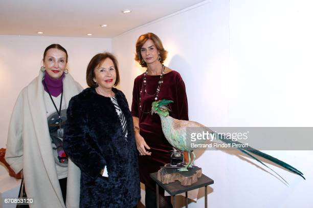 Anne de Castro Francoise Gallimard and Artist Rose de Ganay attend the Rose De Ganay Exhibition Preview at Atelier Visconti on April 20 2017 in Paris...