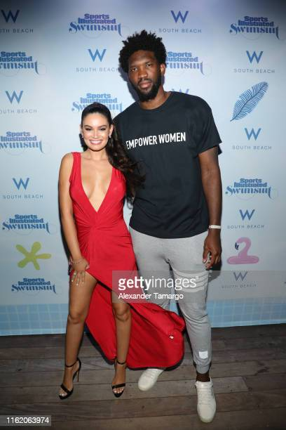 Anne de Palma and Joel Embiid attend the 2019 Sports Illustrated Swimsuit Runway Show During Miami Swim Week At W South Beach Front Row/Backstage at...