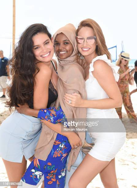 Anne de Paula Halima Aden and Haley Kalil attend the Duke Spirits And Sports Illustrated Mix Off At The Model Mixology Competition at W South Beach...