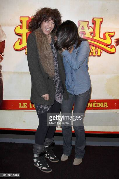 Anne Depetrini and Leila Bekhti attend the 'Halal Police d'etat' premiere at UGC Cine Cite Bercy on February 15 2011 in Paris France
