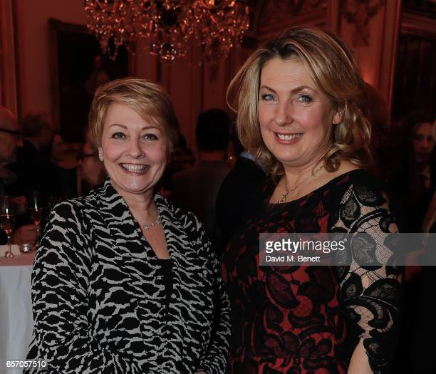 Anne Diamond and Lady Carnarvon attend the launch of new book At Home At Highclere Entertaining At The Real Downton Abbey By The Countess Of...