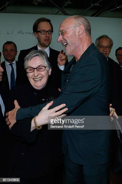 Anne d'Offay and Artist Anselm Kiefer attend the Anselm Kiefer's Exhibition Press Preview held at Centre Pompidou on December 14 2015 in Paris France