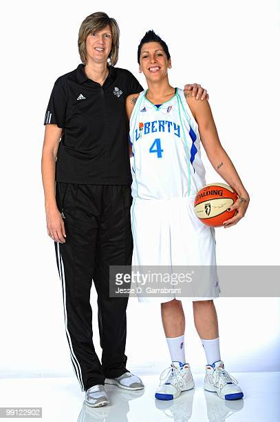 Anne Donovan and Janel McCarville of the New York Liberty pose for a photo during WNBA Media Day on May 12 2010 at the MSG Training Facility in...