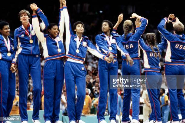 Anne Donovan Cathy Boswell Cheryl Miller US teamWomen's basketball medal ceremony The Forum at the 1984 Summer Olympics August 7 1984