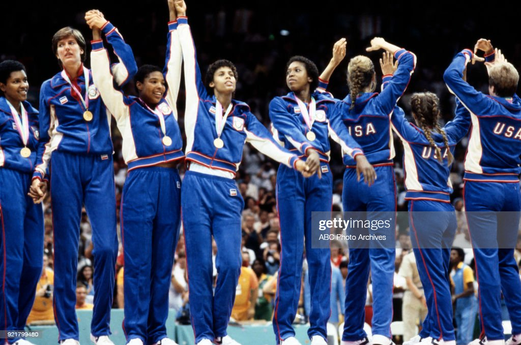 Women's Basketball Medal Ceremony At The 1984 Summer Olympics : News Photo