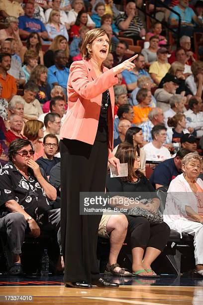 Anne Donovan Head Coach of the Connecticut Sun directs her team against the Chicago Sky during a game on July 12 2013 at the Mohegan Sun Arena in...