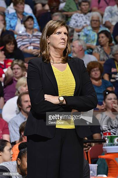 Anne Donovan head coach of the Connecticut Sun looks on during the game against the New York Liberty on August 29 2015 at the Mohegan Sun Arena in...
