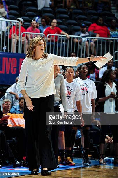Anne Donovan of the Connecticut Sun coaches during the game against the Atlanta Dream on June 7 2015 at Philips Arena in Atlanta Georgia NOTE TO USER...