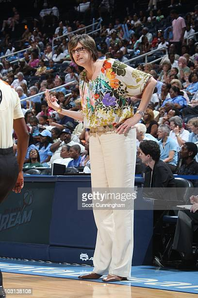 Anne Donovan of the New York Liberty directs during the game against the Atlanta Dream at Philips Arena on July 25 2010 in Atlanta Georgia Atlanta...