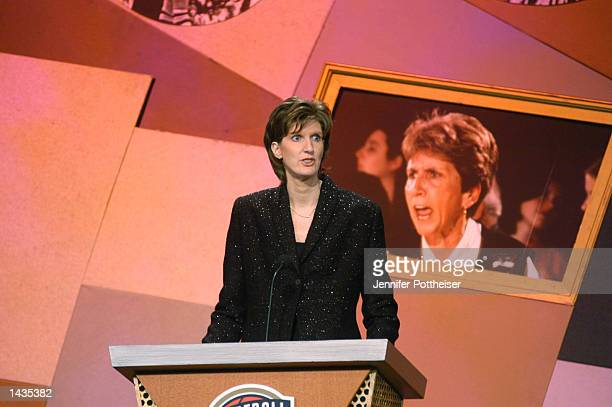 Anne Donovan speaks about Kay Yow as she gets inducted into the Basketball Hall of Fame at a ceremony at the Springfield Civic Center on September 27...