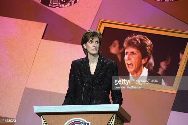 Anne Donovan speaks about Kay Yow during Yow's induction to the Basketball Hall of Fame on September 27 2002 at Springfield Civic Center in...