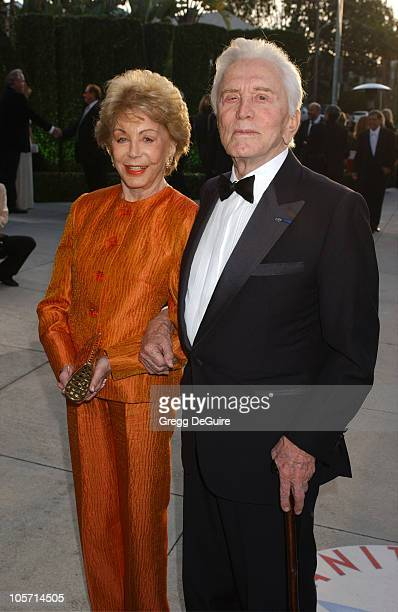 Anne Douglas and Kirk Douglas during 2005 Vanity Fair Oscar Party Arrivals at Mortons in Los Angeles California United States