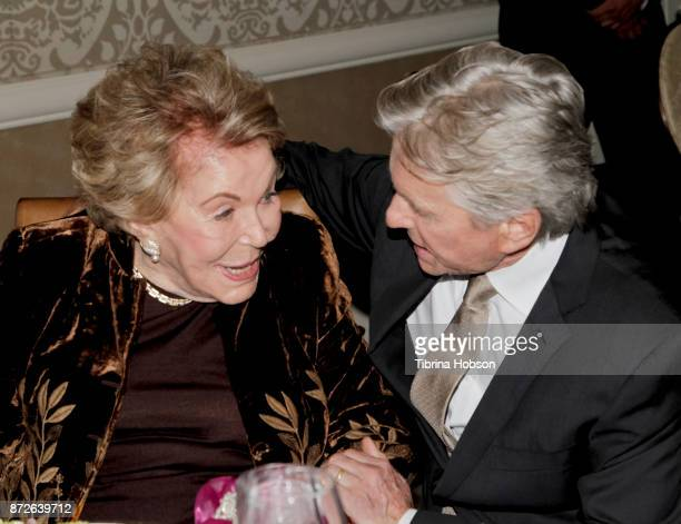 Anne Douglas and Michael Douglas attend the Los Angeles Mission Legacy of Vision Gala at Four Seasons Hotel Los Angeles at Beverly Hills on November...