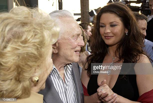 Anne Douglas Kirk Douglas Catherine ZetaJones during Premiere of The InLaws at Cinerama Dome in Hollywood California United States
