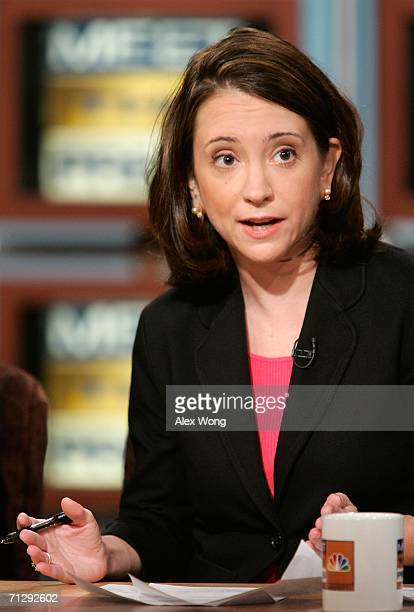 Anne E Kornblut of the New York Times speaks during a taping of 'Meet the Press' at the NBC studios June 25 2006 in Washington DC Kornblut spoke on...
