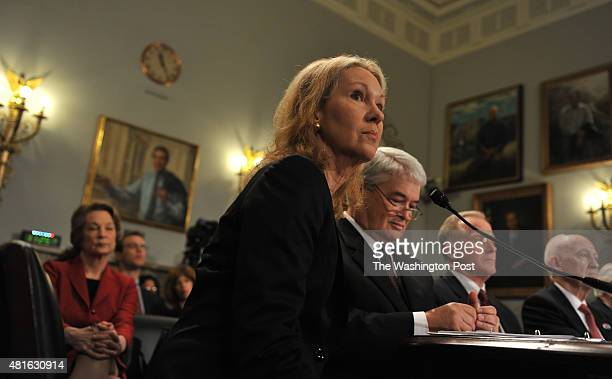 Anne Eisenhower granddaughter of former US president Dwight Eisenhower answers questions during the subcommittee on National Parks Forests and Public...