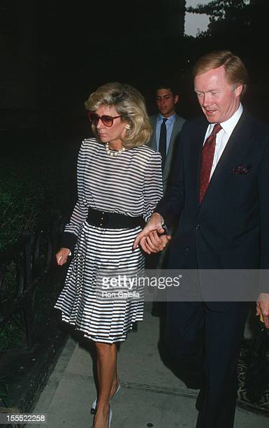 Anne Ford and anchorman Chuck Scarborough attend the funeral service for Carter Cooper on July 26, 1988 at St. James Church in New York City.