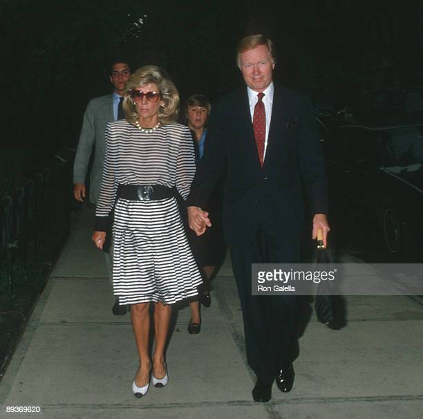 Anne Ford and anchorman Chuck Scarborough attend the funeral service for Carter Cooper on July 26 1988 at St James Church in New York City