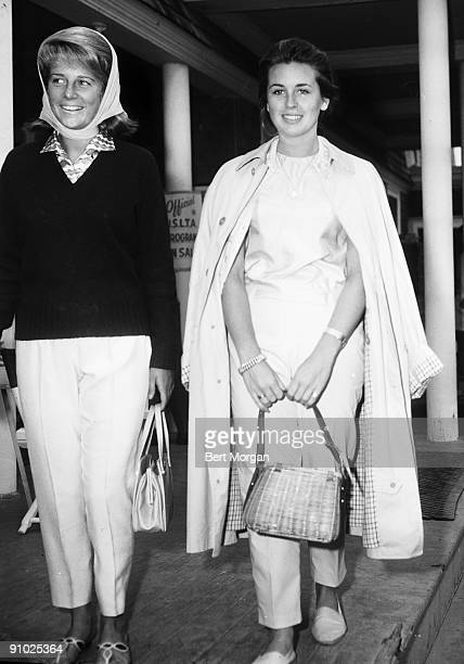Anne Ford daughter of Mr Mrs Henry Ford II with Marcia Meehan daughter of Mr Mrs Joseph A Meehan at a tennis tournament in 1961 at the Meadow Club...