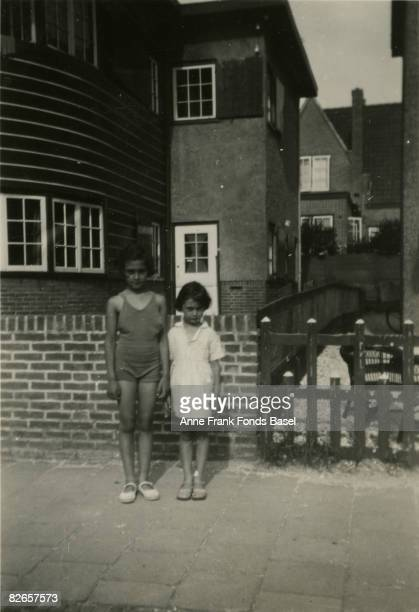 Anne Frank and her older sister Margot at Zandvoort in the Netherlands circa 1934