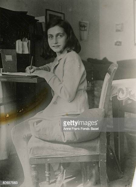 Anne Frank at her writing desk 1941