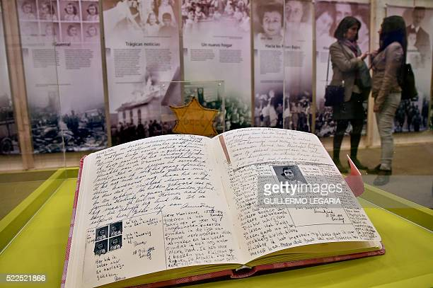 Anne Frank's diary is displayed at the Netherlands pavilion of the XXIX International Book Fair in Bogota Colombia on April 19 2016 Netherlands is...