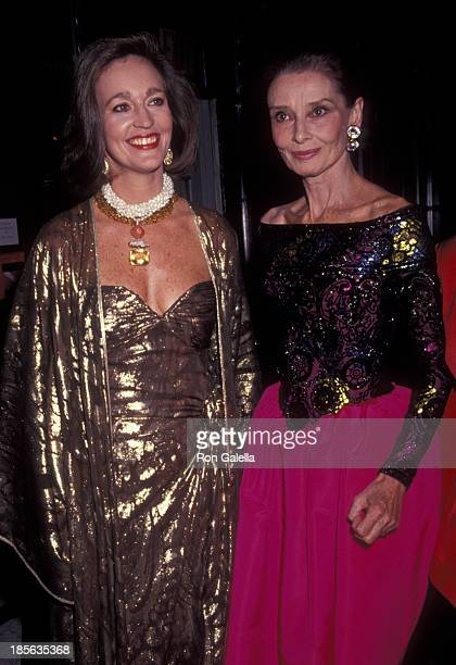 Anne Fuchs and Audrey Hepburn attend Eighth Annual Night of Stars Fashion Benefit on November 3 1991 at the Waldorf Hotel in New York City