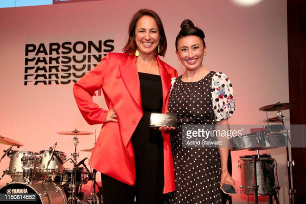 Anne Fulenwider and honoree Katrina Lake pose onstage during the 71st Annual Parsons Benefit honoring Pharrell, Everlane, StitchFix & The RealReal on...