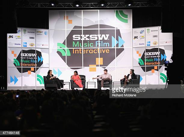 "Anne Fulenwider, Editor in Chief of Marie Claire, actress/comedian Mindy Kaling and actors Ike Barinholtz and Adam Pally speak onstage at ""Running..."
