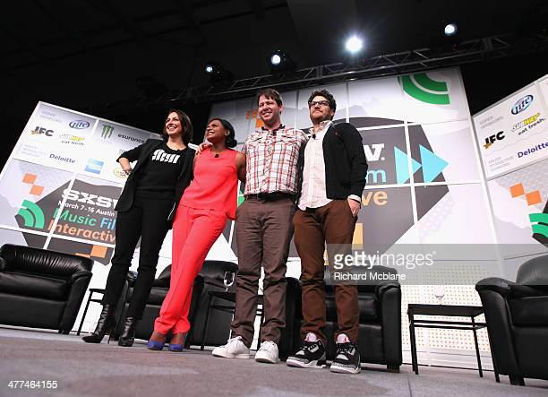 "Anne Fulenwider, Editor in Chief of Marie Claire, actress/comedian Mindy Kaling and actors Adam Pally and Adam Pally speak onstage at ""Running the..."