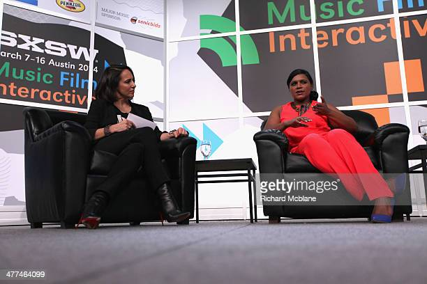 "Anne Fulenwider, Editor in Chief of Marie Claire and actress/comedian Mindy Kaling speak onstage at ""Running the Show: TV's New Queen of Comedy""..."