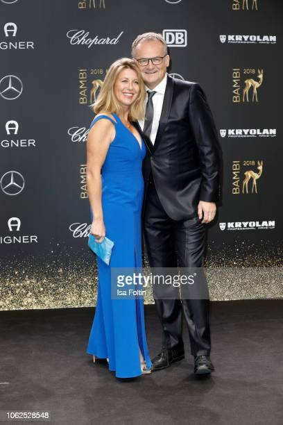 Anne Gesthuysen and Frank Plasber attend the 70th Bambi Awards at Stage Theater on November 16 2018 in Berlin Germany