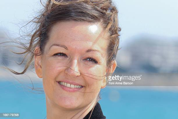 "Anne Girouard attends the ""Marseille"" photocall on April 9, 2013 in Cannes, France."