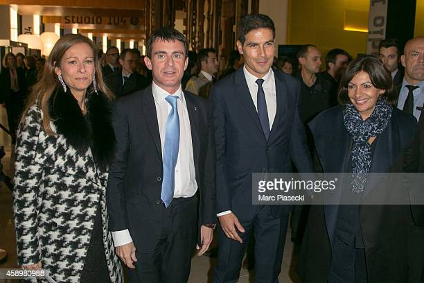 Anne Gravoin French Prime Minister Manuel Valls Mathieu Gallet and Mayor of Paris Anne Hidalgo attend the 'Maison de la Radio' ReOpening night on...