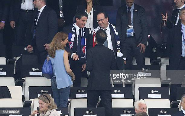 Anne Gravoin wife of French Prime Minister Manuel Valls joins her husband and President of France Francois Hollande following the UEFA Euro 2016...