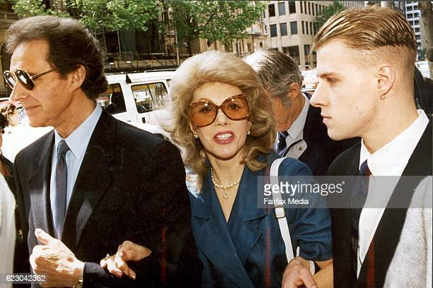 Anne Hamilton Byrne and husband William left with friend arrive at County Court Melbourne 15 November 1993