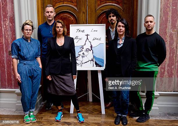 Anne Hardy David Shrigley Tracey Emin Benjamin Senior Sarah Jones and Eddie Peake poses next to the piece True Love Always Wins by Tracey Emin as the...