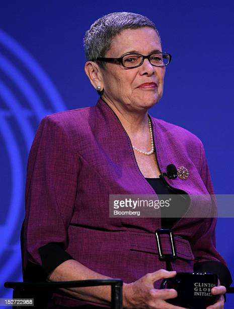 Anne Hastings chief executive officer of Fonkoze Financial Services listens during the annual meeting of the Clinton Global Initiative in New York US...