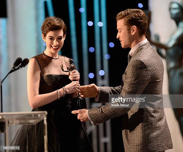 Anne Hathaway accepts award at the 19th Annual Screen Actors Guild Awards at The Shrine Auditorium on January 27 2013 in Los Angeles California...
