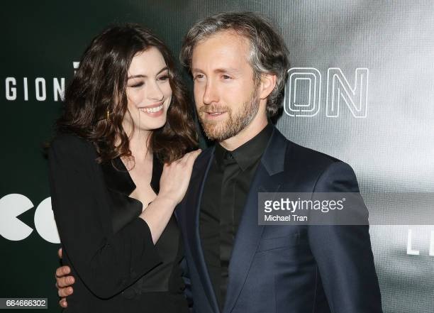 Anne Hathaway and Adam Shulman arrive at the Los Angeles premiere of Neon's 'Colossal' held at the Vista Theatre on April 4 2017 in Los Angeles...
