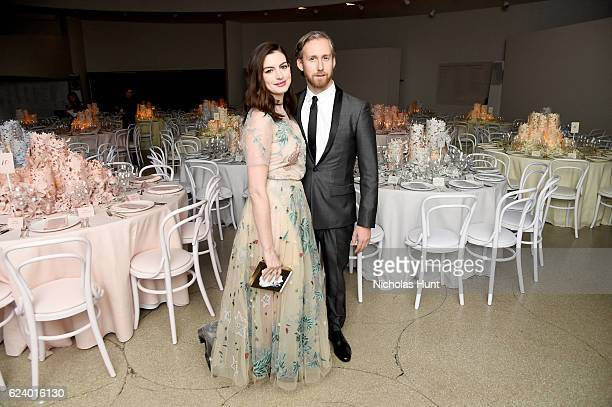 Anne Hathaway and Adam Shulman attend the 2016 Guggenheim International Gala Made Possible By Dior at Solomon R Guggenheim Museum on November 17 2016...