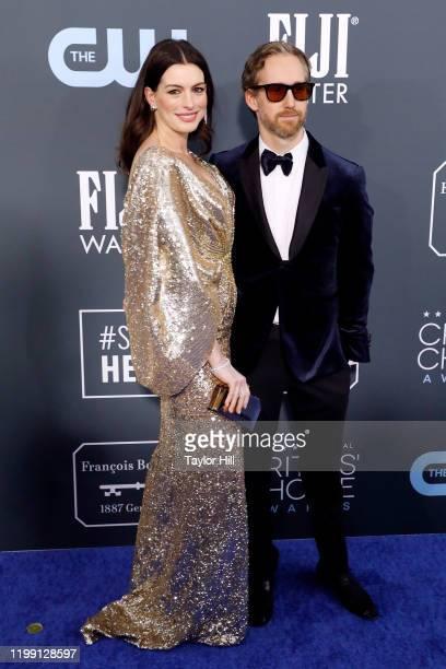 Anne Hathaway and Adam Shulman attend the 25th Annual Critics' Choice Awards at Barker Hangar on January 12 2020 in Santa Monica California