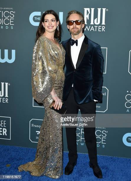 Anne Hathaway and Adam Shulman attend the 25th Annual Critics' Choice Awards at Barker Hangar on January 12, 2020 in Santa Monica, California.