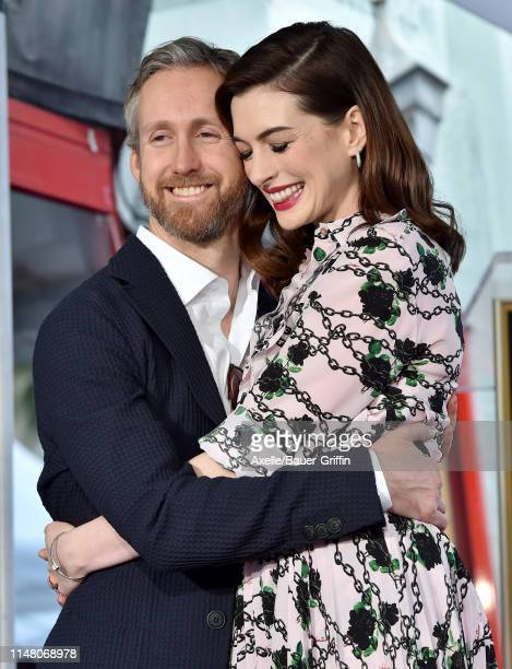 Anne Hathaway and Adam Shulman attend the ceremony honoring Anne Hathaway with star on the Hollywood Walk of Fame on May 09, 2019 in Hollywood,...