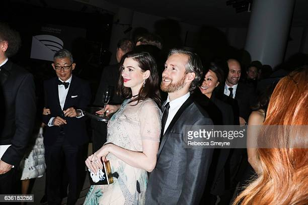 Anne Hathaway and Adam Shulman attend the Guggenheim International Gala at the Solomon R Guggenheim Museum on November 17 2016 in New York City