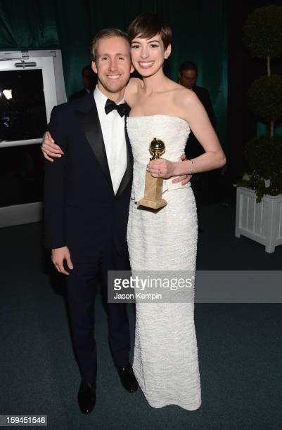 Anne Hathaway and Adam Shulman attend the NBCUniversal Golden Globes viewing and after party held at The Beverly Hilton Hotel on January 13 2013 in...