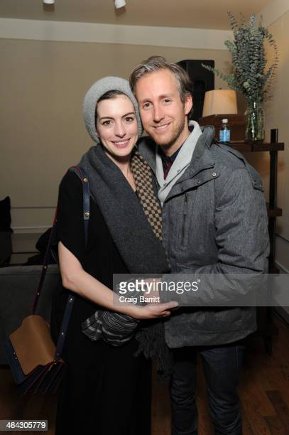 Anne Hathaway and Adam Shulman attend the The Snow Lodge x Eveleigh Host 'The One I Love' party on January 21 2014 in Park City Utah