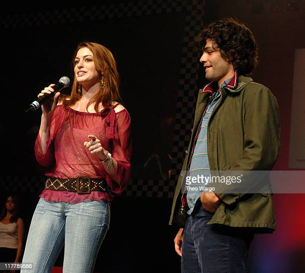 """Anne Hathaway and Adrian Grenier during Sony Playstation 2 Teams with Russell Simmons and the Hip-Hop Summit Action Network to """"Race to the Polls"""" -..."""